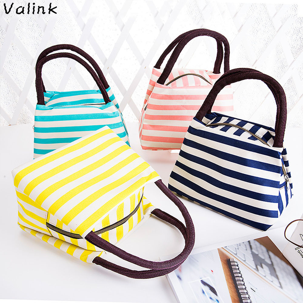 Valink 2017 Portable Lunch Bag for Women Stripe Waterproof Oxford Lunch Bags Carry Tote Food Storage Bag Case Picnic Lancheira