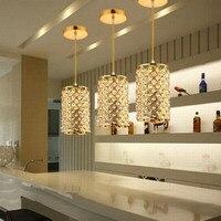Modern LED Golden Crystal Pendant Lights Round Stainless Steel Pendant Lamp Luster Light Restaurant Droplight E27