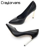 Craylorvans 12/10/8CM Women Stiletto High Heels Ladies Sexy Black Snake Metal Heels Pointed Toe Pumps Comfortable Dress Shoes