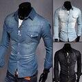 100% algodón 2017 Hombres boutique de moda de vaquero camisas de manga larga de negocios Masculino premium marca color Puro camisas de dril de algodón delgado ocasional