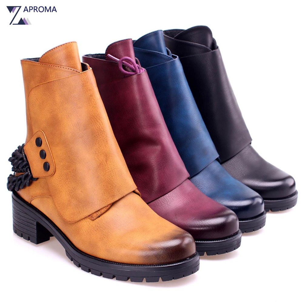 2018 Western Boots Women Chain Square Heel Brown Ankle Boots Lace Up Rivet Fleeces Round Toe Punk Shoe Med Heel Autumn Winter basic 2018 women thick heel ankle boots black pu fleeces round toe work shoe red heel winter spring lady super high heel boots
