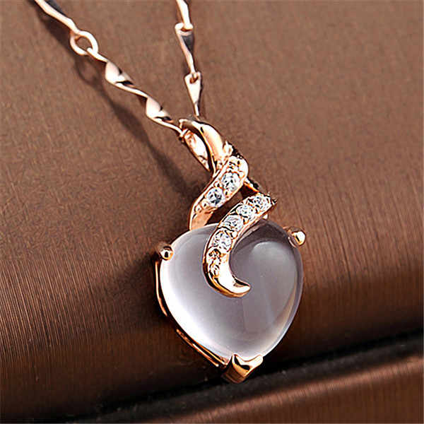 New Arrival Heart Opal Necklaces & Pendants Rose Gold Chain White Crystal Necklace Bijoux Femme Gift For Friends