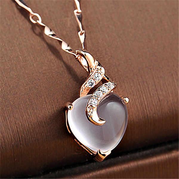 جديد وصول القلب أوبال قلائد سلسلة ذهبية وردية الأبيض كريستال قلادة بيجو فام هدية للأصدقاء