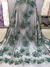 Lace Fabric Nigerian Lace Fabrics For Wedding 2018 green African Beaded Lace Fabric Fashion For Nigerian Dress