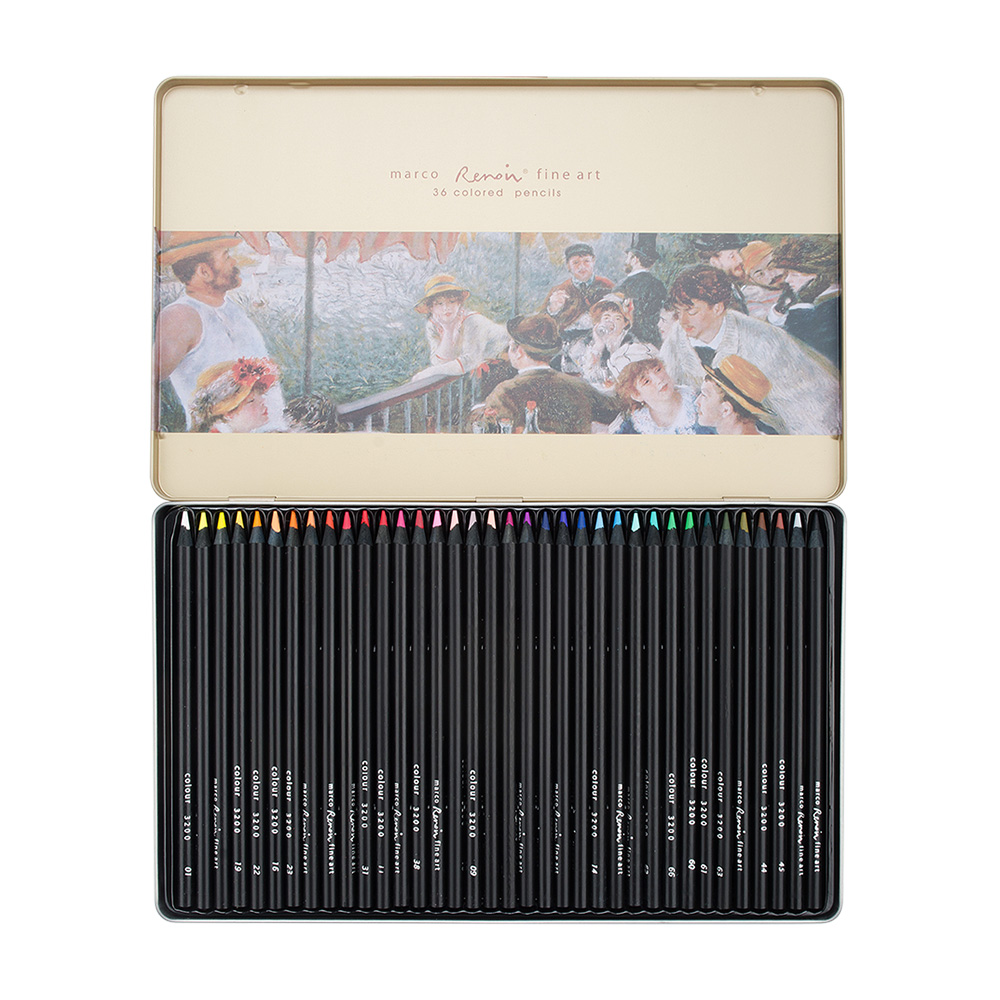 Marco Renoir Art Painting Oil Color Pencils 24/36/48 Colors Set for Sketching Coloring Drawing With Tin Case 3200 цена