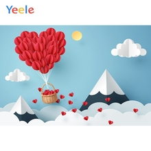 Yeele Red Heart Balloons Basket Cloud Birthday Party Baby Cartoon Photo Backdrops Photographic Backgrounds For Studio
