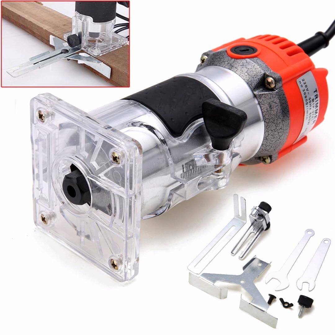 Новый 800 Вт 220 В деревянной отделкой маршрутизатор 6,35 мм собирать Диаметр ручной электрический триммер Деревообработка ламинат кромочный Ф...