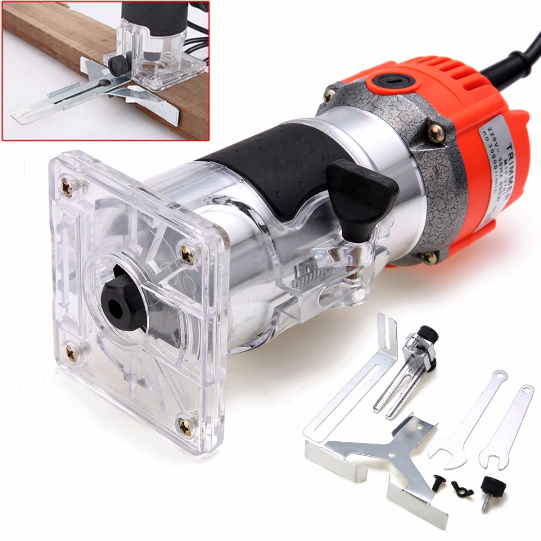New 800W 220V Wood Trim Router 6 35mm Collect Diameter Electric Hand Trimmer Woodworking Laminate Palm