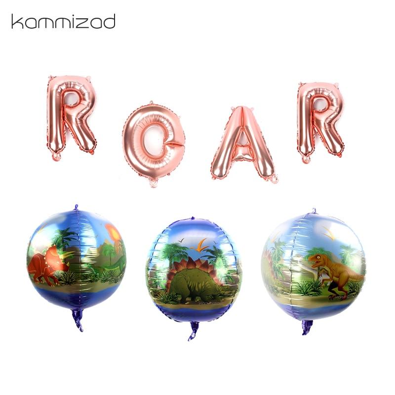 Animal aluminum Foil Balloons 18inch 4D dinosaur helium globos for 1 Birthday Party Decoration kids boy toys ROAR letter ballon