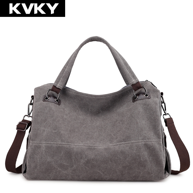KVKY Brand Canvas Women Handbags Vintage Hobos Single Shoulder Bags Solid Ladies Messenger Bag Female Crossbody Bag Totes Bolsas women shoulder bags leather handbags shell crossbody bag brand design small single messenger bolsa tote sweet fashion style