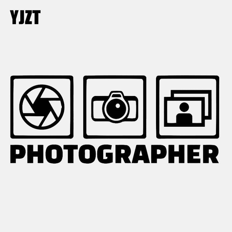 YJZT 14.3CM*6CM Photo Studio Decal Camera Decor Vinyl Black/Silver Car Sticker C22-0822