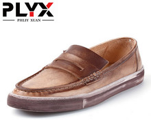 Brand PHLIY XUAN New 2017 Genuine Leather 100% Handmade Men Casual Shoes Male Loafers High Grade Retro Chaussure Homme