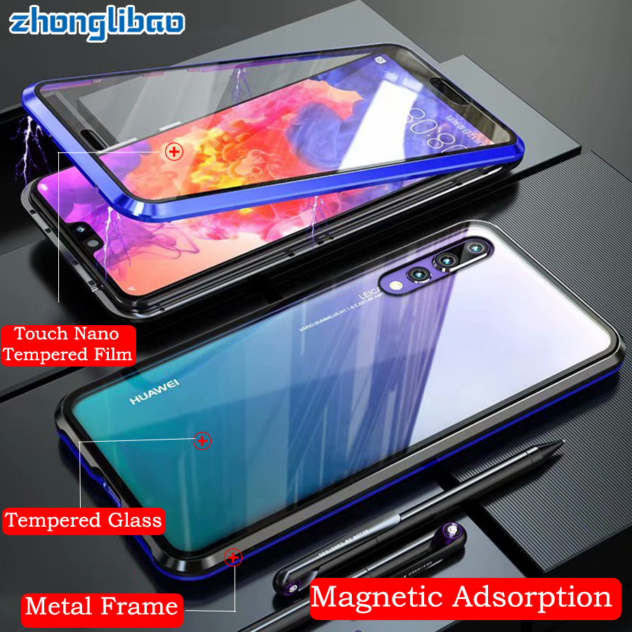 Built in Magnetic Adsorption Metal Case for Huawei P20 Pro P20 Luxury 360 Full Cover Front Back Double Glass Protector Etui-in Fitted Cases from Cellphones & Telecommunications on AliExpress - 11.11_Double 11_Singles' Day 1