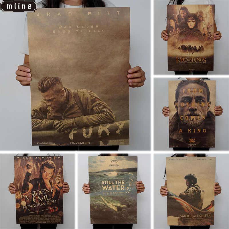 1PC Vintage Posters Retro Movie Poster Kraft Paper Posters Drawing Classic Poster Bar Home Decoration Painting Wall Sticker