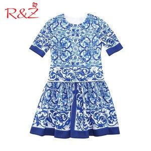 R & Z Vestiti Dalle Ragazze 2019 Bambini della Molla di Abbigliamento Nazionale di Venti Bambini Cheongsam Abiti Da Principessa Blu e Bianco della Porcellana(China)