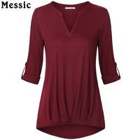 Messic Casual T Shirt Women Roll Up Sleeve V Neck Tops Women Sexy Front Pleated Loose