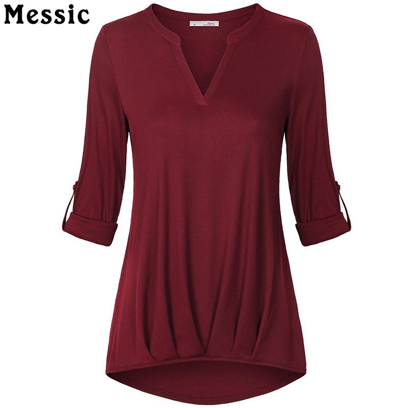 Messic Casual T Shirt Women Roll Up Sleeve V Neck Tops