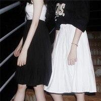 Sexemara الصيف المرأة عالية الخصر الركبة طول مطوي التنانير 2017 harajuku أسود أبيض الشيفون التنانير تنورة الإناث عارضة طويلة