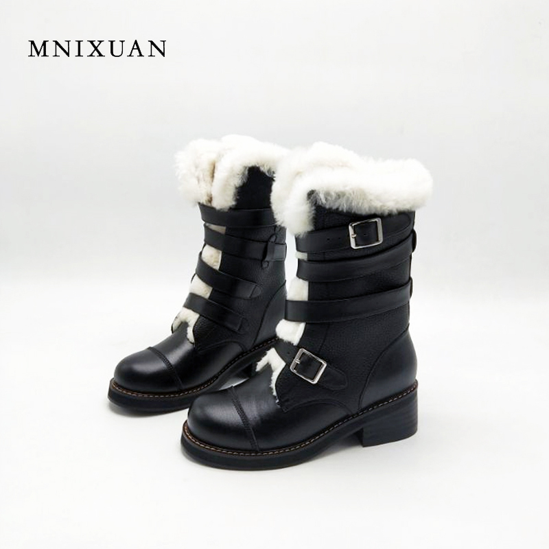 MNIXUAN Winter boots warm wool snow boots 2017 handmade high quality genuine leather mid-calf women shoes heels 5cm big size 10