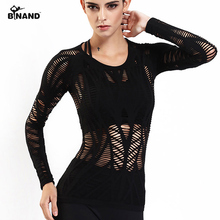 Binand Hollow Sport Top Mesh Yoga Top Voor Fitness Shirt Vrouwen Quick Dry Workout Top Laced Gym Lange Mouw Ademend yoga Shirts