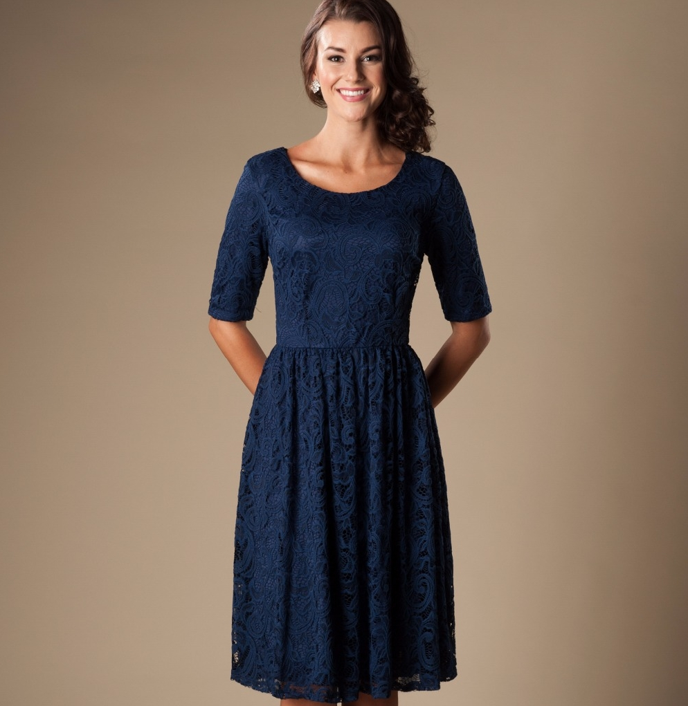 Modest bridesmaid dresses picture more detailed picture about 2017 navy blue lace short modest bridesmaid dresses with half sleeves a line knee length ombrellifo Images