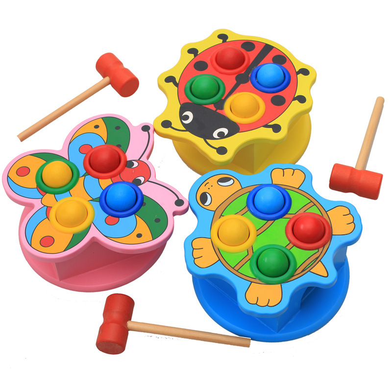 Montessori education 6-12 months 1-2 years old baby puzzle children piling table toys smart knocking table wooden toys