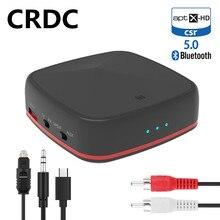 Crdc bluetooth 5.0 transmissor receptor csr8675 aptx hd/ll música adaptador de áudio sem fio rca/3.5mm aux jack/spdif para o carro do computador da tevê