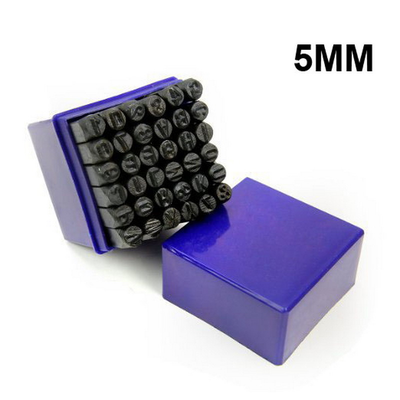 36 PCS 5mm Alphanumeric Number Punch Letter Steel Stamp Dies Set for Jewelers Set Metal Lethercraft Hand Tool Set