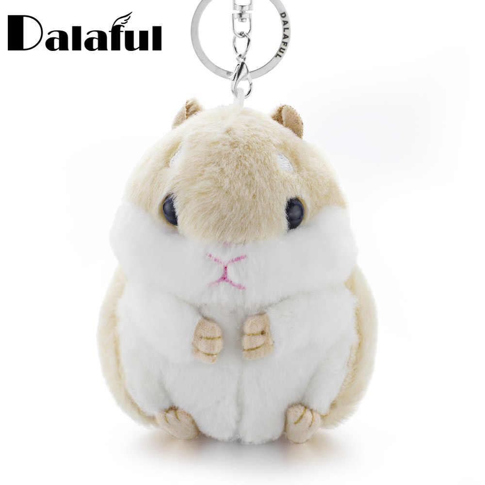 Dalaful Hamster Mini Chaveiros Chaveiros Faux Rabbit Fur Pompom Fofo Bugigangas Carro Bolsa Pingente Chaveiro Anel Titular K356