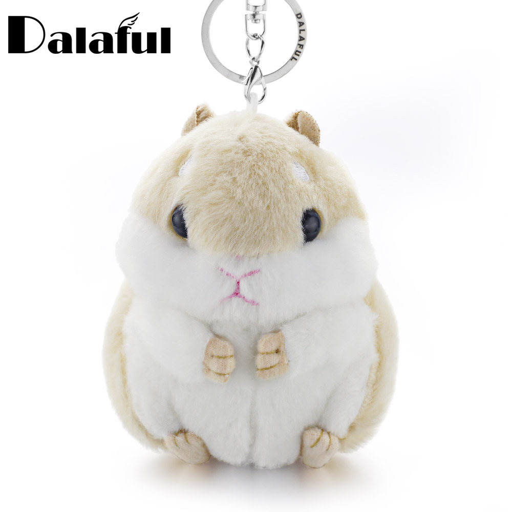 Dalaful Mini Hamster Keyrings Keychains Faux Rabbit Fur Pompom Fluffy Trinkets Car Handbag Pendant Key Chains Ring Holder K356