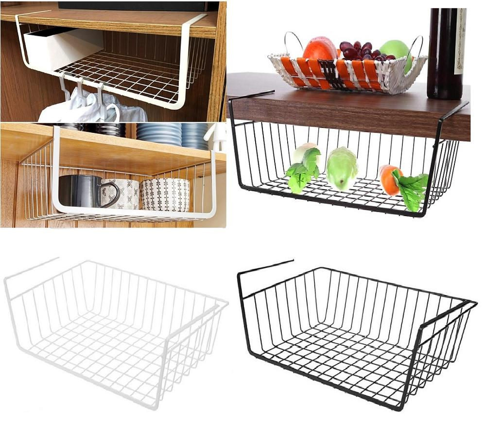 Hanging Under Shelf Storage Iron Mesh Basket Cupboard Cabinet Door Organizer Rack Closet Holders Storage Basket Rack Organizer