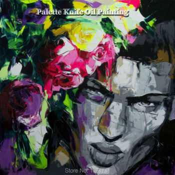 Hand painted Francoise Nielly Palette knife portrait Face Oil painting Character figure canva wall Art picture13-18