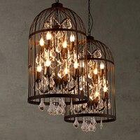 E14 Nordic Birdcage Crystal Pendant Lights Iron Cage Home Decor American Vintage Industrial Lamp Retro Lamparas Colgantes