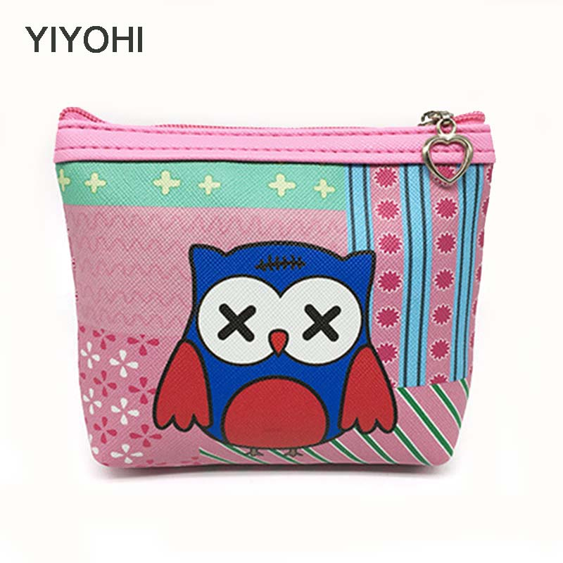 YIYOHI Unisex Men Women PU Leather Zipper Coin Purse For Kids Cute Owl Small Coin Wallet Pouch Girls' Kawaii Animal Card Key Bag korean ladies transparent cartoon coin purse girls zipper coin wallet children cute animal mini key card pouch bag for kids