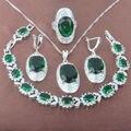 Благородный Зеленый Камень Циркония Стерлингового Серебра 925 Ювелирные Наборы Ожерелье Серьги Кольца Браслет Бесплатная Доставка JQ013