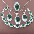 Noble Green Stone  Zirconia  925 Sterling Silver Jewelry Sets Necklace Pendant Earrings Rings Bracelet Free Shipping JQ013