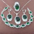 Noble Verde Piedra Zirconia 925 Sistemas de La Joyería Collar Colgante Pendientes Anillos Pulsera Envío Gratis JQ013