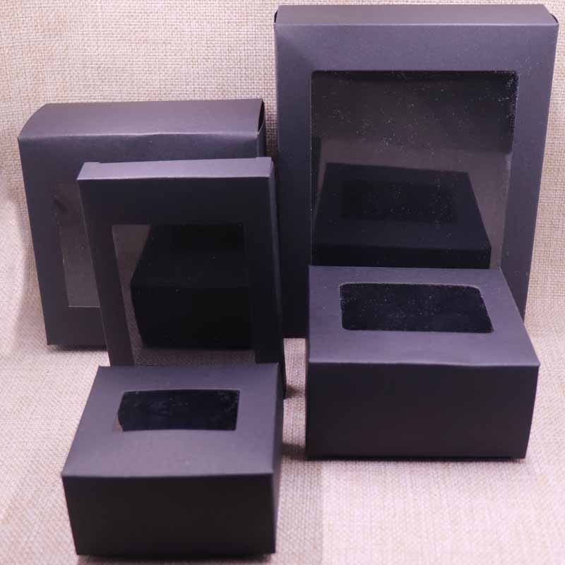 20 Pcs DIY Vintage  Kraft Paper Gift  Box Package With Clear Pvc Window Black Box  Candy Favors Arts&krafts Display Package Box
