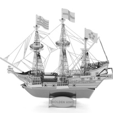 New Aipin DIY 3D Puzzle Stainless Steel Assembled Model Pirate Ship Model Best Gift for Kids