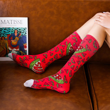 3D Shine Graffiti Painted Long Socks For Women Colorful High Knee Harajuku Funny Girls Streetwear Sox Hip Hop