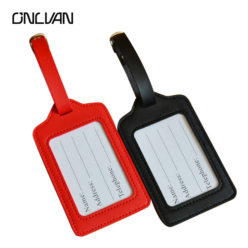 ONLVAN PU Leather Luggage Tags 13 Colors with Name Card Luggage Tag ...
