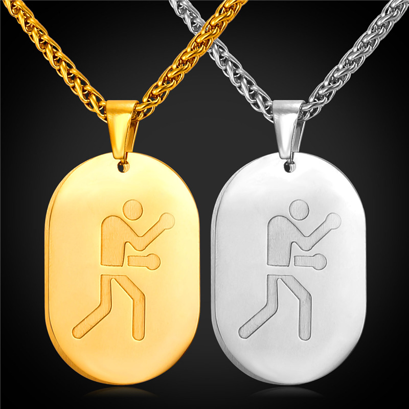 New Stainless Steel Zodiac Dog Tag Pendant Men S Women S: Dog Tag Double Pendant Necklace Boxing Sport Jewelry For