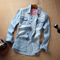 Summer Men's Fashion Hole Denim Shirt Male Long Sleeved Slim Shirt 100% Cotton Thin Denim Shirts