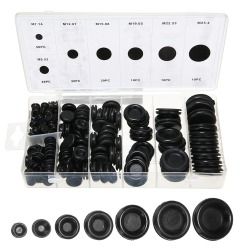 170pcs Black Rubber Grommet Firewall Hole Plug Retaining Ring Set Car Electrical Wire Gasket Kit For Cylinder Valve Water Pipe