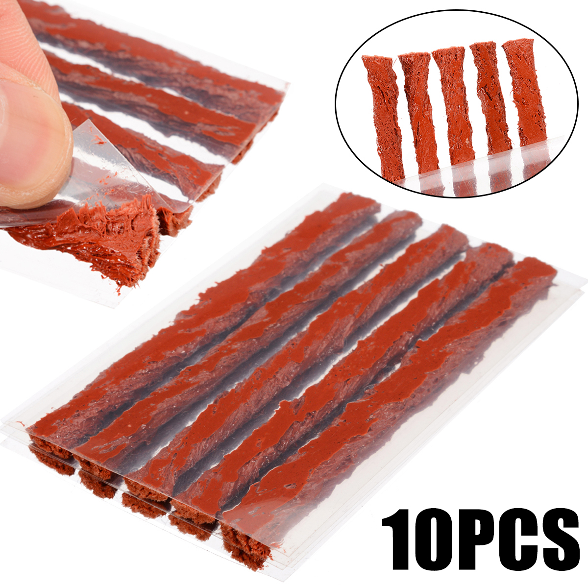 Image 1 - 10Pcs/set Tubeless Tire Repair Strips Glue For Tyre Puncture Emergency Car Motorcycle Bike Tyre Repairing Rubber Strips