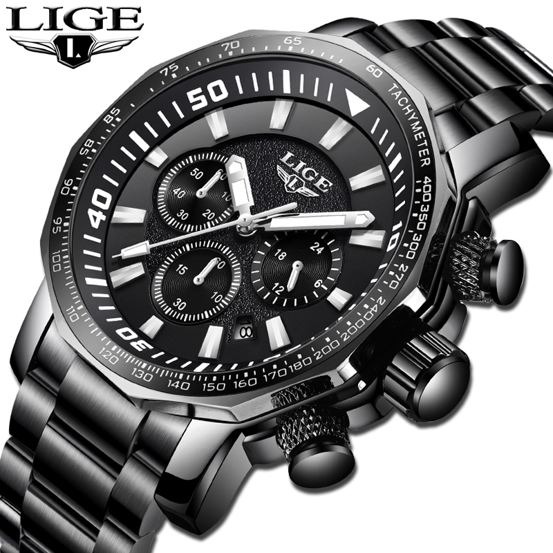 LIGE Watch Men's Fashion Sports Quartz Big Dial Clock All Steel Mens Watches Top Brand Luxury Waterproof Watch Relogio Masculino pair of trendy geometric rhinestone alloy ear cuff for women