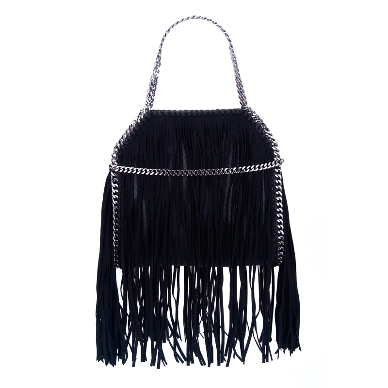 Women tassel bag fashion shoulder chain bags black color totes for women cool street leather small bag girls 15 25 ages