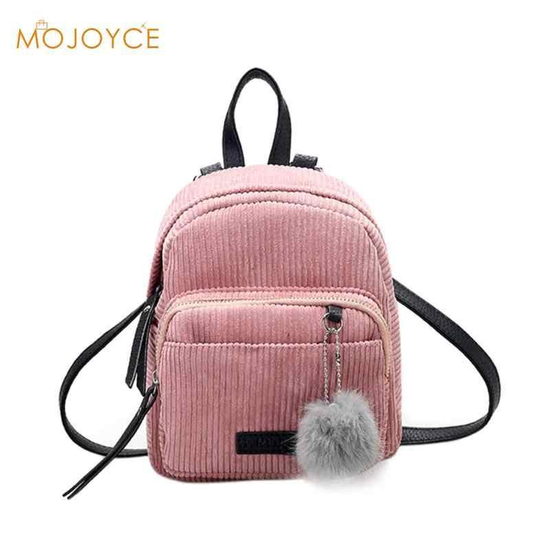 Mini Ransel Solid Fashion Tas Sekolah untuk Remaja Perempuan Bulu Bola Solid Korduroi Ransel dengan Warna Permen untuk Wanita