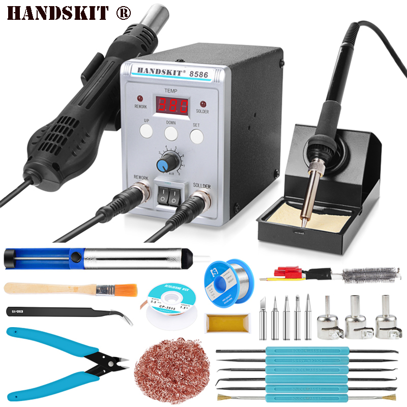 Handskit 750W 8586 2 In 1 Digital ESD Hot Air Gun Soldering Station Welding SMD Rework