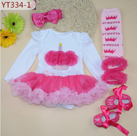 Birthday girls bodysuit tutu dresses dot toddler shoes ruffle leg warmers and hair band four piece set party Christmas outfits